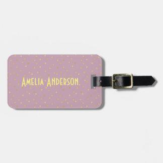 Gold polka dot,pink,pattern,girly,trendy,cute,fun travel bag tag