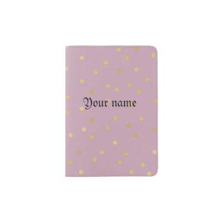 Gold polka dot,pink,pattern,girly,trendy,cute,fun, passport holder