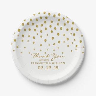 Gold Polka Dot Wedding 7 Inch Paper Plate