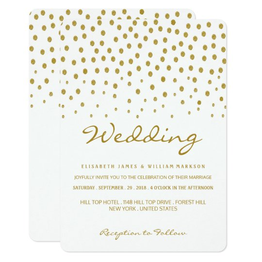 Gold Polka Dot Wedding Card