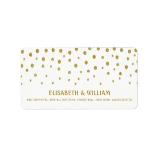 Gold Polka Dot Wedding Label