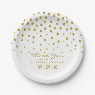 Gold Polka Dot Wedding Paper Plate