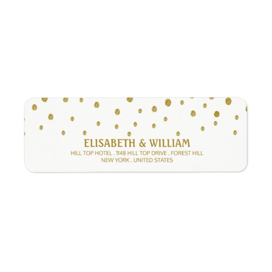 Gold Polka Dot Wedding Return Address Label