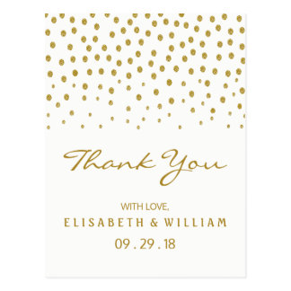 Gold Polka Dot Wedding Thank You Postcard