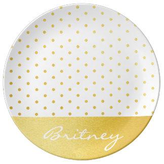 Gold polka dots and monogram - custom plate