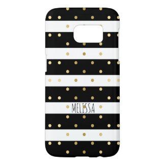 Gold Polka-dots & Black Stripes Samsung Galaxy S7 Case