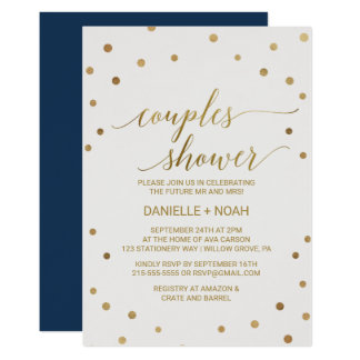 Gold Polka Dots Couples Shower Card