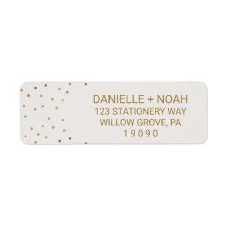 Gold Polka Dots Flowers Wedding Return Address Label