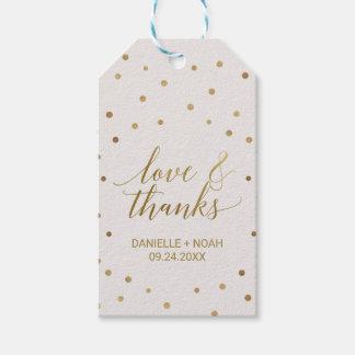 "Gold Polka Dots ""Love & Thanks"" Favor Tags"