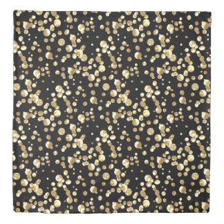 Gold polka dots on a black background . duvet cover
