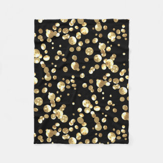 Gold polka dots on a black background . fleece blanket