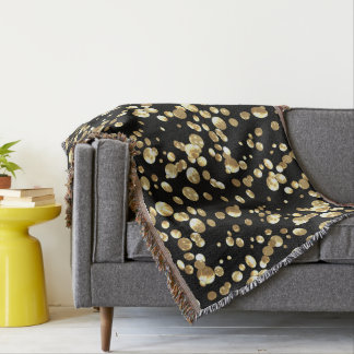 Gold polka dots on a black background . throw blanket