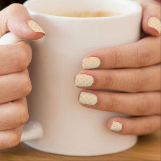 Gold Polka Dots on Cream Minx Nail Art