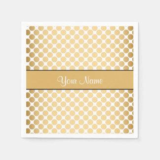 Gold Polka Dots On Gold Background Paper Napkin