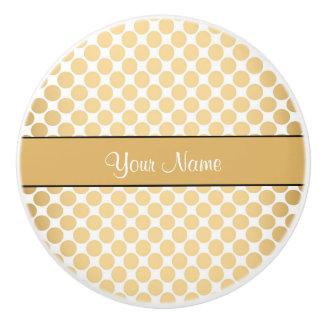Gold Polka Dots On White Background Ceramic Knob