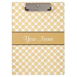 Gold Polka Dots On White Background Clipboards