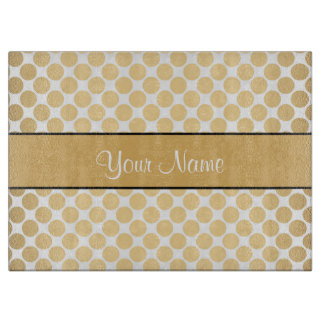 Gold Polka Dots On White Background Cutting Board