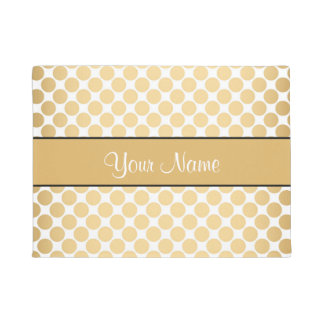 Gold Polka Dots On White Background Doormat