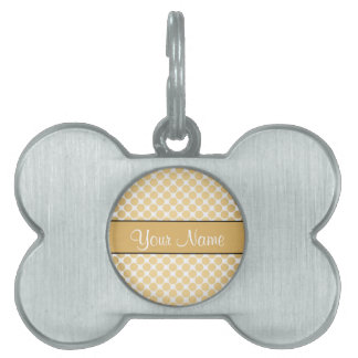 Gold Polka Dots On White Background Pet ID Tag