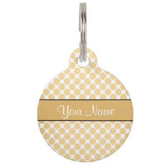 Gold Polka Dots On White Background Pet ID Tags