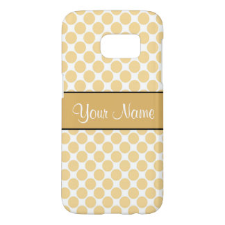 Gold Polka Dots On White Background Samsung Galaxy S7 Case