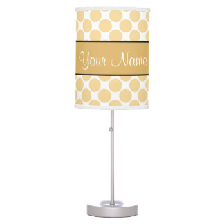 Gold Polka Dots On White Background Table Lamps
