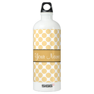 Gold Polka Dots On White Background Water Bottle