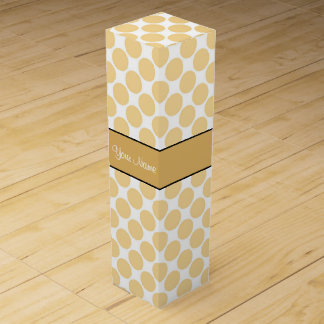 Gold Polka Dots On White Background Wine Gift Box