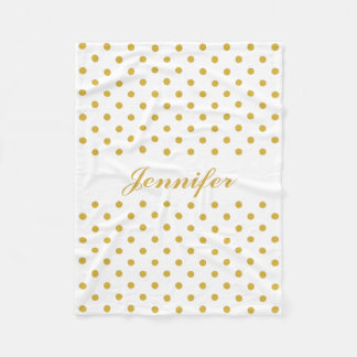 Gold Polka Dots on White Personalized Name Fleece Blanket