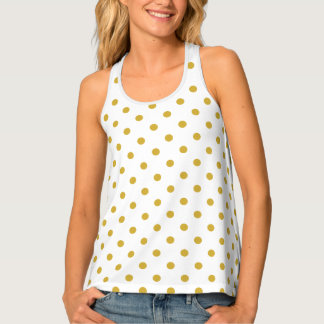 Gold Polka Dots on White Tank Top