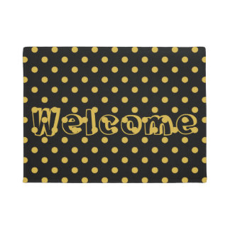 Gold Polka Dots Pattern on Black Welcome Doormat