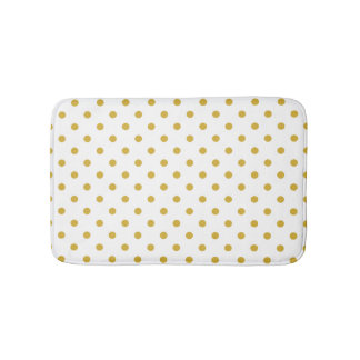 Gold Polka Dots Pattern on White Bathroom Mat