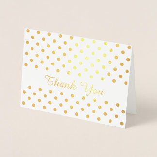 Gold Polka Dots Pattern on White Thank You Foil Card