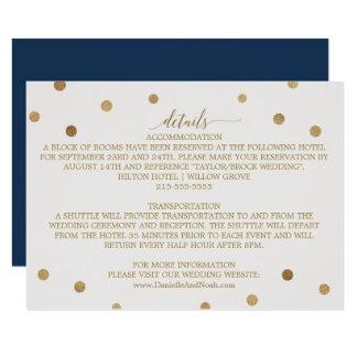 Gold Polka Dots Wedding Details Card