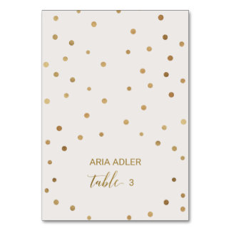 Gold Polka Dots Wedding Escort Place Cards