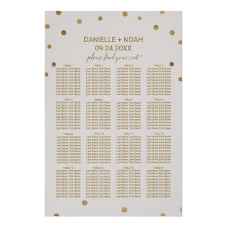 Gold Polka Dots Wedding Seating Chart