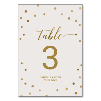 Gold Polka Dots Wedding Table Number