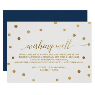 Gold Polka Dots Wedding Wishing Well Card