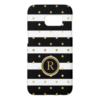 Gold-Polka Dots With Black & White Stripes Samsung Galaxy S7 Case
