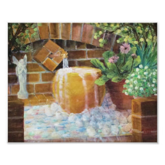 Gold Pot & Brick Fountain Photo Print