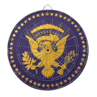 Gold Presidential Seal on Blue Ground Dartboard