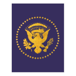 Gold Presidential Seal on Blue Ground Postcard