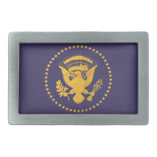 Gold Presidential Seal on Blue Ground Rectangular Belt Buckle