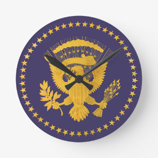 Gold Presidential Seal on Blue Ground Round Clock