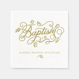 Gold Pretty Calligraphy Script Floral Baptism Paper Napkin