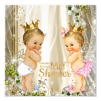 """Gold Prince or Princess Gender Reveal Baby Shower 5.25"""" Square Invitation Card"""