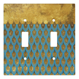Gold  Princess Mermaid Glitter Scales Light Switch Cover