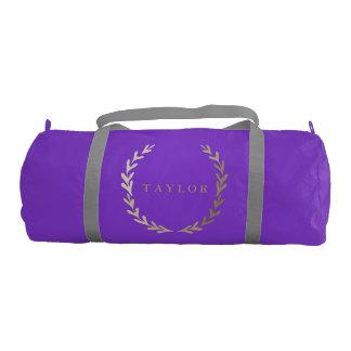 Gold Print Purple Gym Duffle Bag