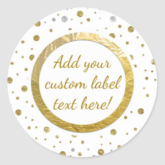 Gold Printed Confetti Custom Craft Label Round Sticker