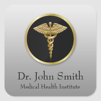 Gold Professional Medical Caduceus - Sticker